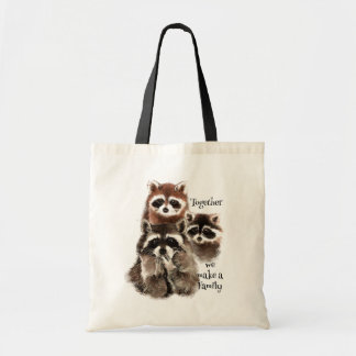 Watercolor Raccoons Together we make Family Quote Canvas Bags
