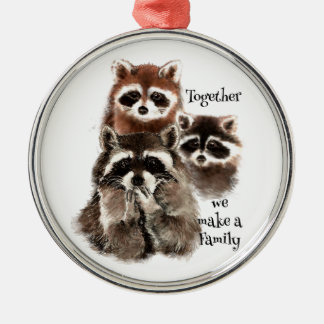 Watercolor Raccoons Together we make Family Quote Christmas Ornament