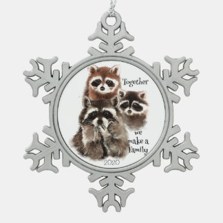 Watercolor Raccoons Together we make Family Quote Ornament