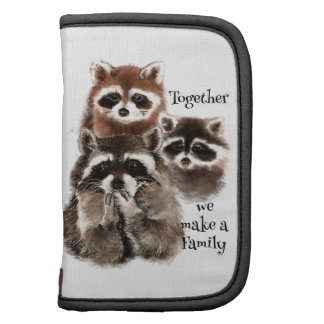 Watercolor Raccoons Together we make Family Quote Folio Planners