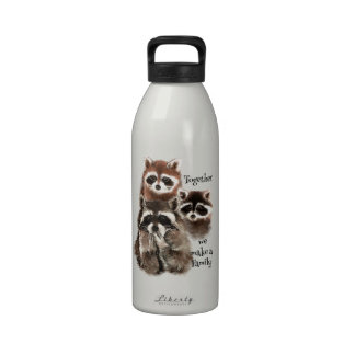 Watercolor Raccoons Together we make Family Quote Reusable Water Bottle