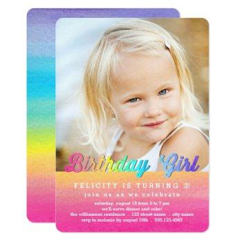Watercolor Rainbow Birthday Party Invitation by Orabella at Zazzle