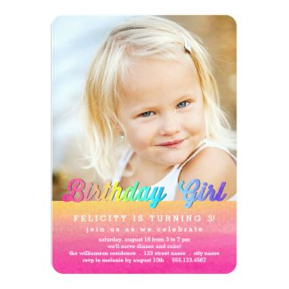 Watercolor Rainbow Birthday Party Invitation