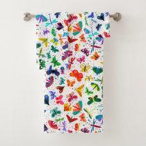 Watercolor Rainbow Butterflies Kids Pattern Bath Towel Set