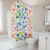 Watercolor Rainbow Butterflies Kids Pattern Shower Curtain