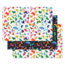 Watercolor Rainbow Butterflies Kids Pattern Wrapping Paper Sheets
