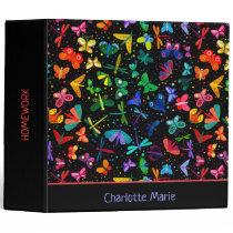 Watercolor Rainbow Butterflies Kids Personalized 3 Ring Binder