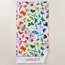 Watercolor Rainbow Butterflies Kids Personalized Beach Towel