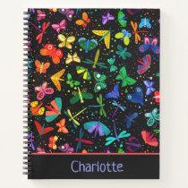 Watercolor Rainbow Butterflies Kids Personalized Notebook