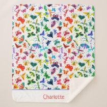 Watercolor Rainbow Butterflies Kids Personalized Sherpa Blanket