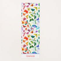 Watercolor Rainbow Butterflies Kids Personalized Yoga Mat