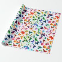 Watercolor Rainbow Butterflies Kids Wrapping Paper