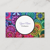Watercolor Rainbow Colors Mandala Business Card
