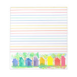 Watercolor Rainbow Cottage Houses Lined Note Pad