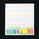 """Watercolor Rainbow Cottage Houses Lined Notepad<br><div class=""""desc"""">A bright and colorful lined notepad decorated with a row of cottage houses in a rainbow of colors painted with watercolor on a white background.</div>"""
