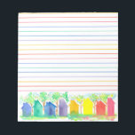 "Watercolor Rainbow Cottage Houses Lined Notepad<br><div class=""desc"">A bright and colorful lined notepad decorated with a row of cottage houses in a rainbow of colors painted with watercolor on a white background.</div>"