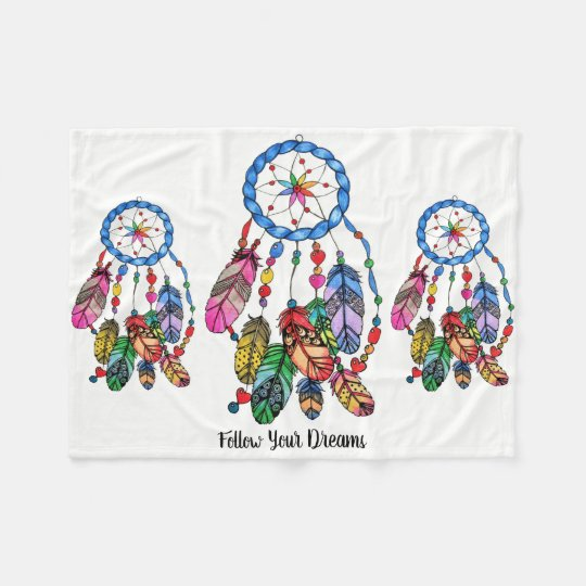 Watercolor Rainbow Dream Catcher Inspiring Words Fleece Blanket New Dream Catcher Words