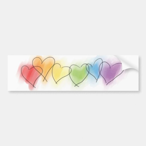 Watercolor Rainbow Hearts Bumper Stickers