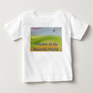 Watercolor rainbow landscape with kite baby T-Shirt