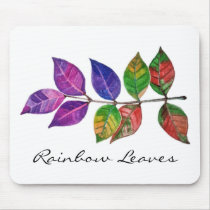 Watercolor Rainbow Leaves Mouse Pad