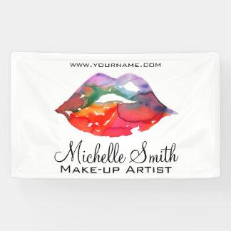 Watercolor rainbow lips makeup branding banner