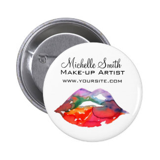 Watercolor rainbow lips makeup branding button