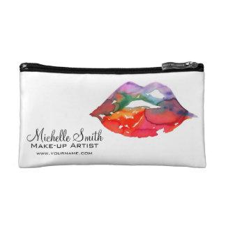 Watercolor rainbow lips makeup branding cosmetic bag
