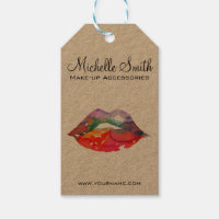 Watercolor rainbow lips makeup branding gift tags