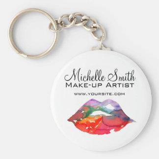 Watercolor rainbow lips makeup branding keychain
