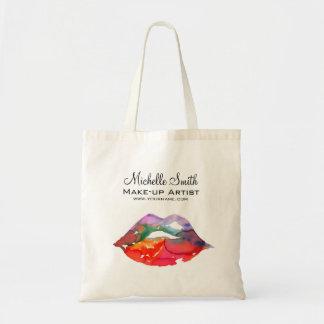 Watercolor rainbow lips makeup branding tote bag
