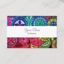 Watercolor Rainbow Mandala With Heart Business Card