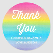 Watercolor Rainbow Party Thank You Stickers