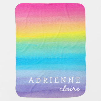Watercolor Rainbow Personalized Baby Blanket Stroller Blanket