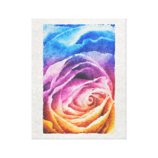 Watercolor Rainbow Rose Canvas Print