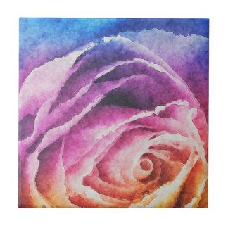 Watercolor Rainbow Rose Ceramic Tile