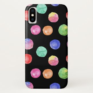 Watercolor Rainbow Spots iPhone XS Case