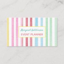Watercolor Rainbow Stripe Feminine Business Card