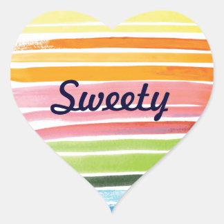 Watercolor rainbow stripes heart sticker