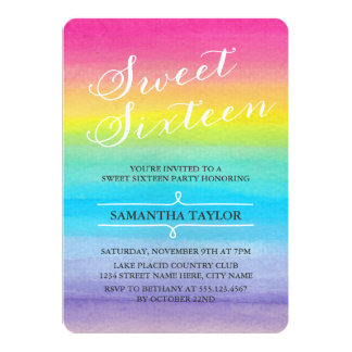 Watercolor Rainbow Sweet Sixteen Party Invite