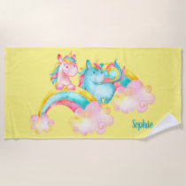 Watercolor Rainbow Unicorn Beautiful Personalized Beach Towel