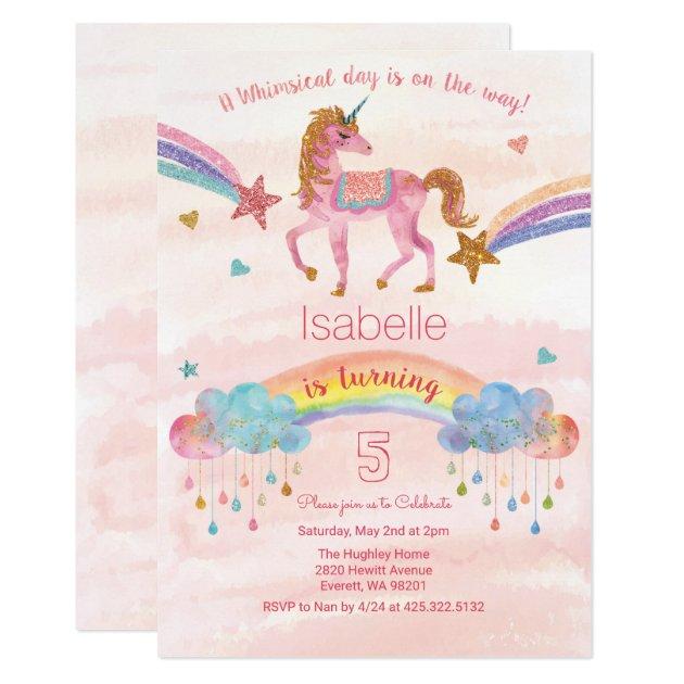 watercolor rainbow unicorn birthday invitation   zazzle,