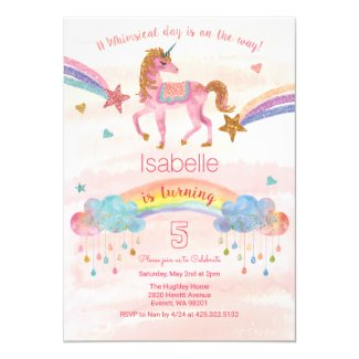 Watercolor Rainbow Unicorn Birthday Invitation