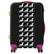 Watercolor Rainbow Unicorn Pattern Black & White Luggage