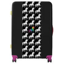 Watercolor Rainbow Unicorn Pattern Black & White Luggage