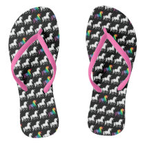 Watercolor Rainbow Unicorn Pattern Trendy Stylish Flip Flops
