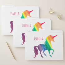 Watercolor Rainbow Unicorn Personalized Girls File Folder