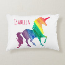 Watercolor Rainbow Unicorn Silhouette Kids Pretty Decorative Pillow