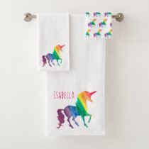 Watercolor Rainbow Unicorn Silhouette Personalized Bath Towel Set