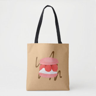 Watercolor Raspberry Cream Macaron Caramel Tote