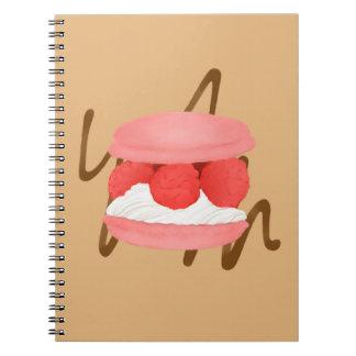 Watercolor Raspberry Cream Macaron Notebook